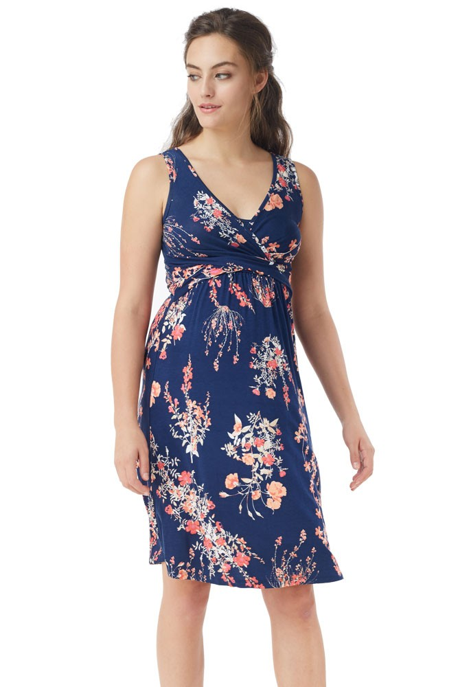 Ava Sleeveless Wrap Maternity & Nursing Dress (Floral Wild Blossom)