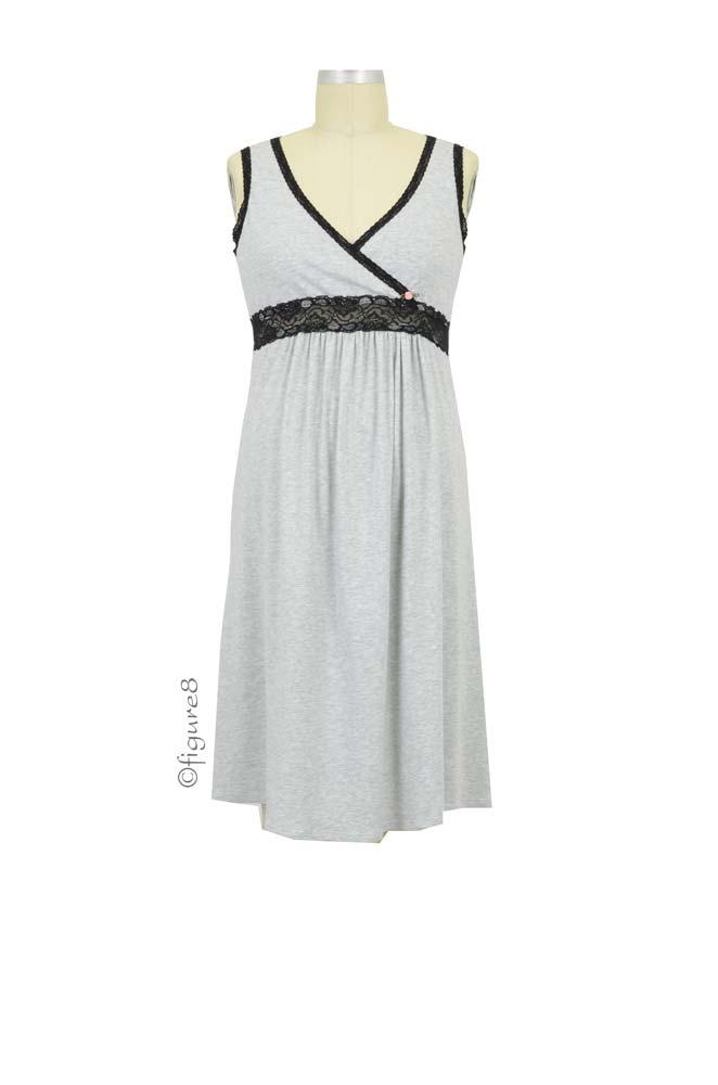 Esme Tank Maternity & Nursing Dress (Heather Grey with Lace)