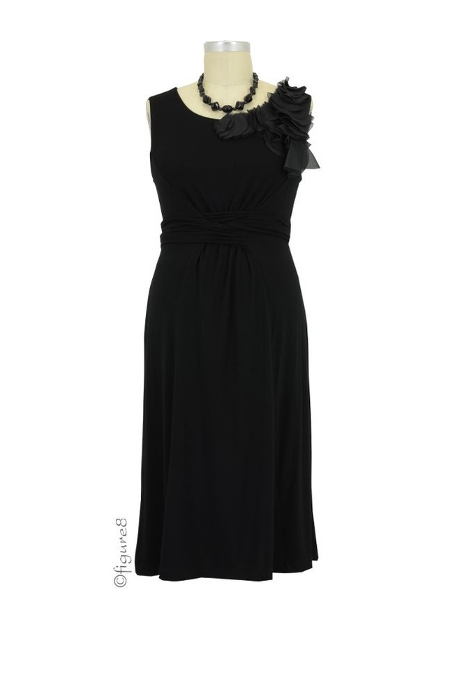 Fleur Bamboo Shoulder Enhanced Maternity Dress (Black)