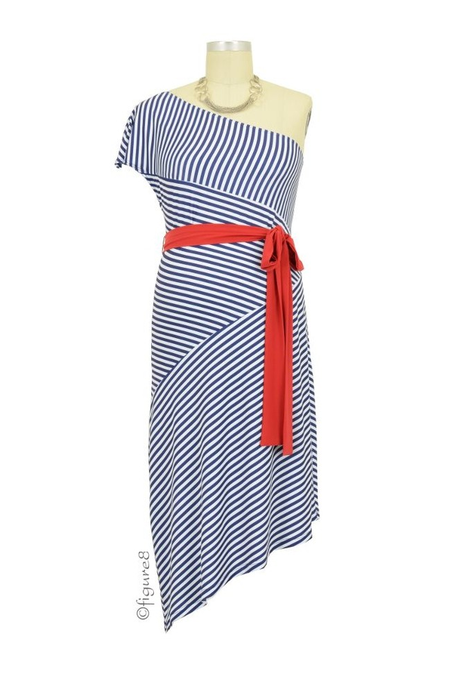 Trina Striped One Shoulder Maternity Dress (Marine with Red)