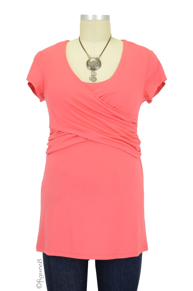 Tori Cross Front Nursing Top (Coral)