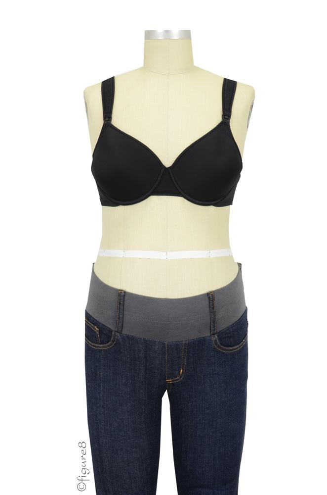 QT Intimates Carin Padded Nursing Bra with Cushioned Straps (Black)