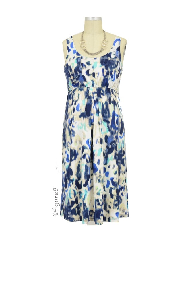 Ying Anytime Sleeveless Nursing Dress (Blue Green Ikat)