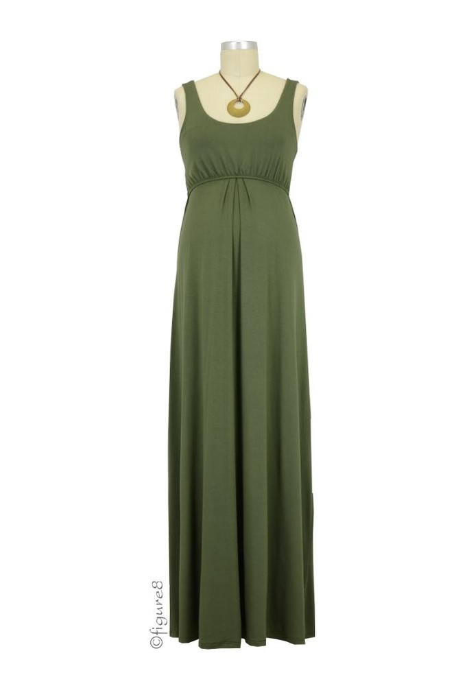 Ying Anytime Maxi Maternity Amp Nursing Dress In Olive By