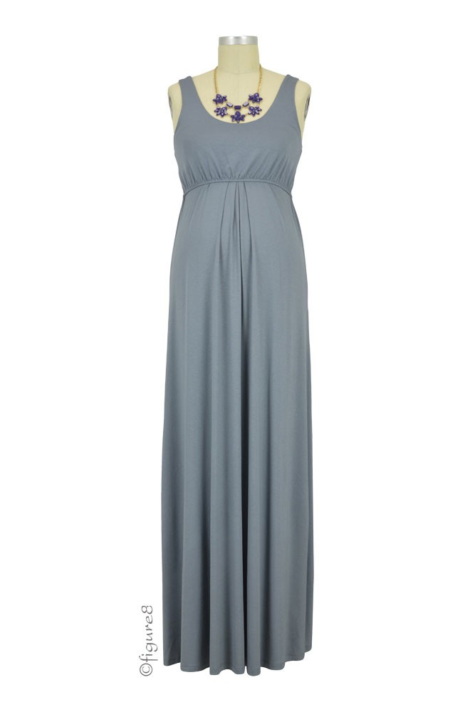 Ying Anytime Maxi Maternity & Nursing Dress (Steel)