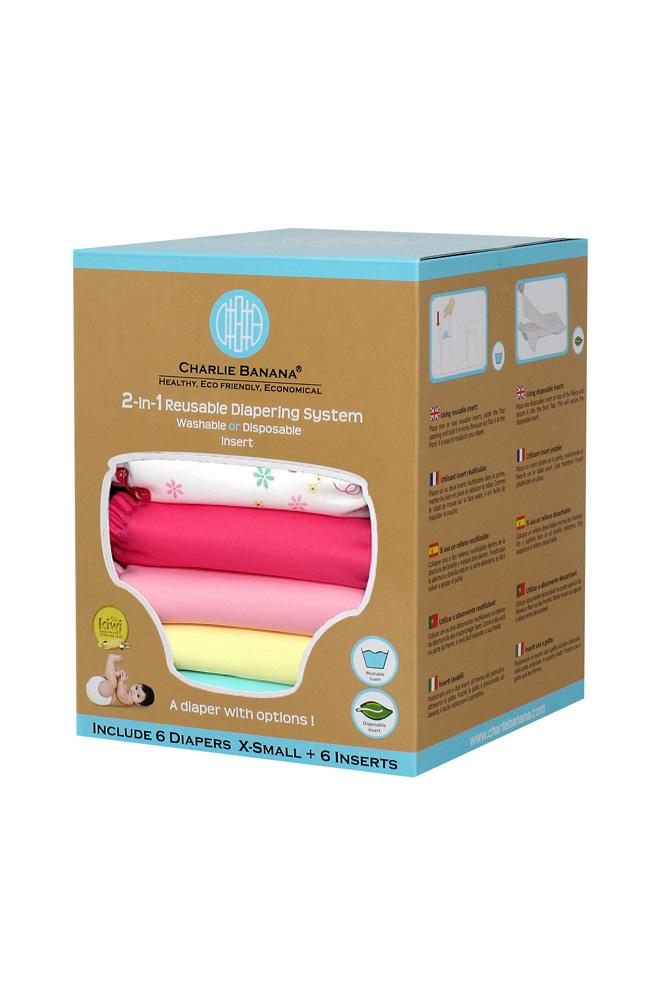 Charlie Banana® 2-in-1 Newborn Diapers - 6 Pack (Butterfly)