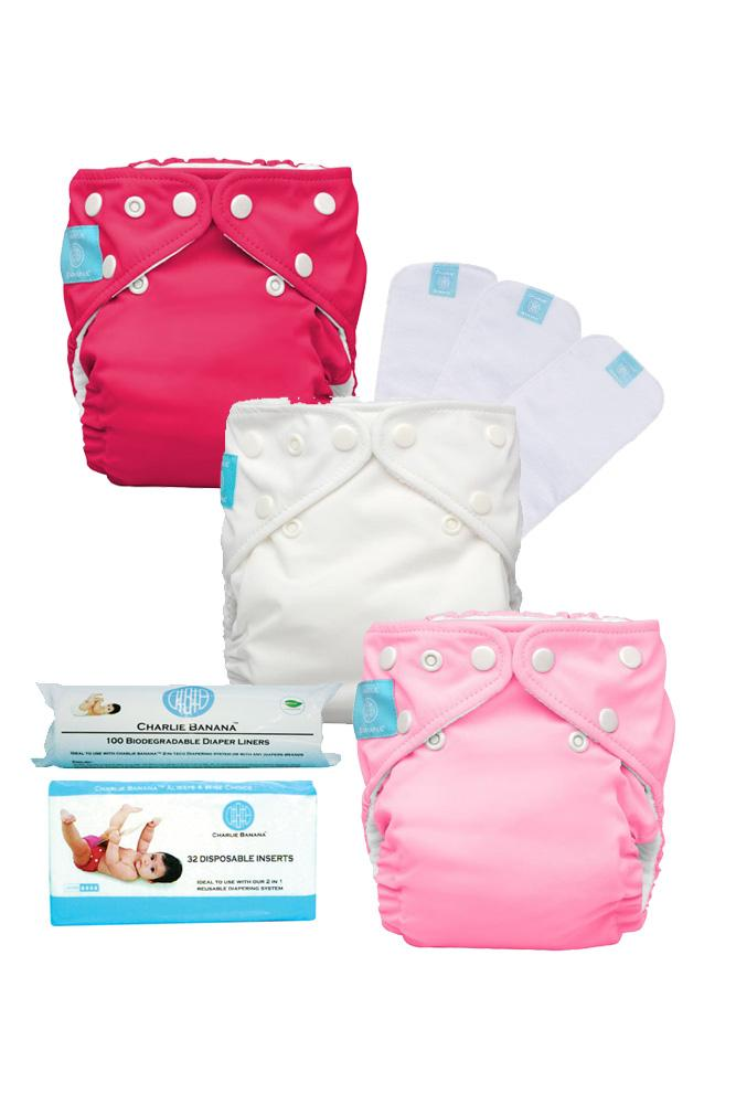 Charlie Banana® One Size Cloth Diaper Starter Kit (Girl)