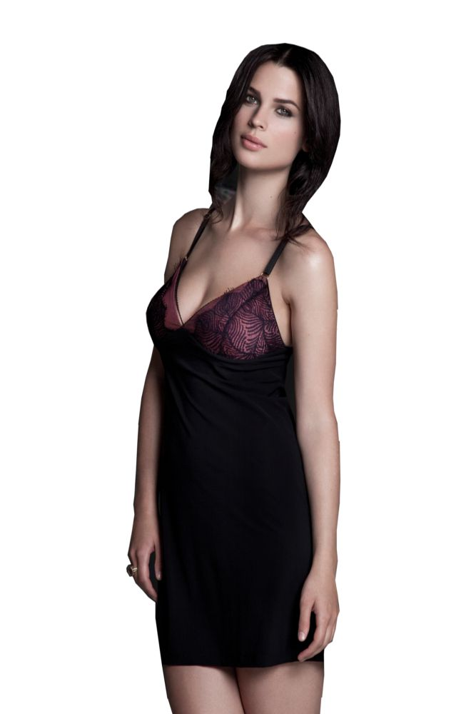 Bella Materna Peacock Lace Nursing Negligee (Black with Orchid)