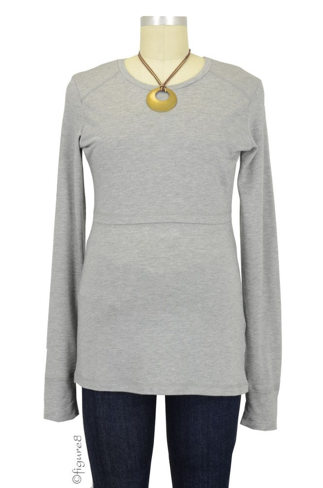Boob Warming Wool Nursing Top with Extra Long Sleeves (Grey Melange)