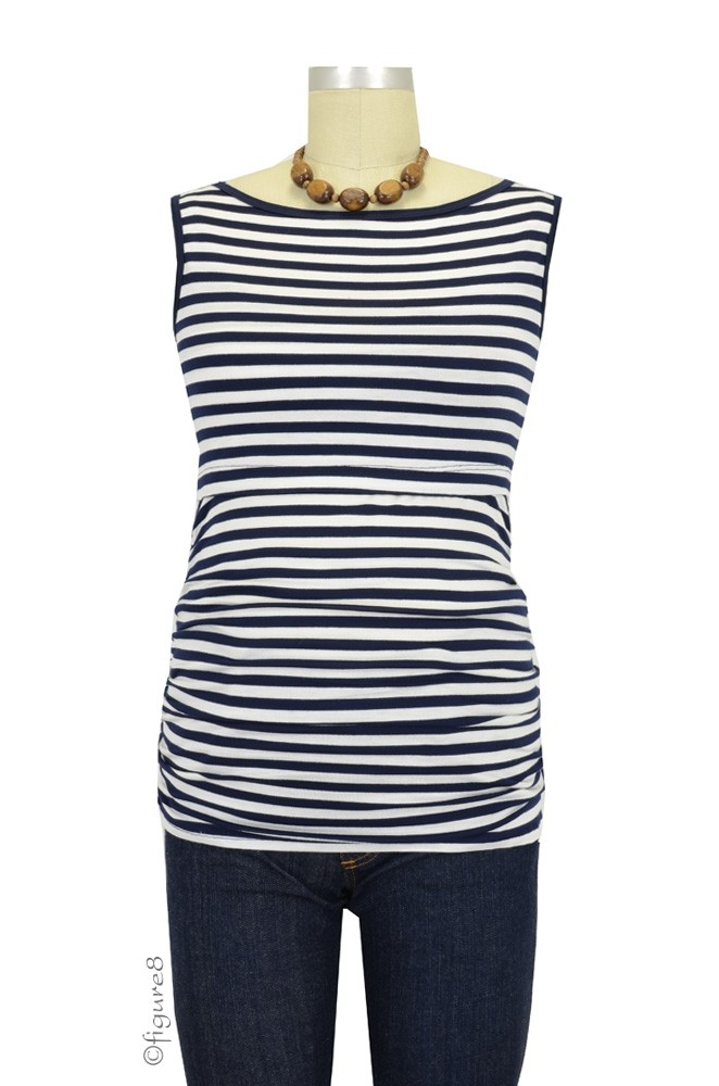 Tara Sleeveless Boatneck Nursing Top (Navy & White Stripes)