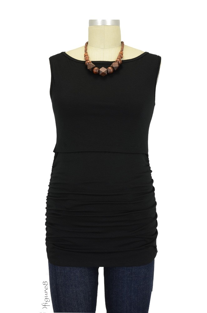 Tara Sleeveless Boatneck Nursing Top (Onyx)
