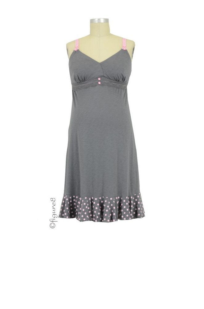 Cake Lingerie Rocky Road Nursing Chemise (Grey with Pink Polka Dots)