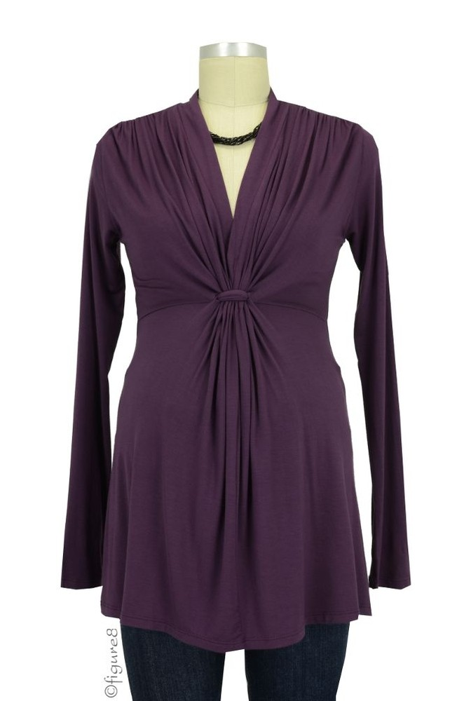 Mandy Waterfall Knot Front Maternity Top (Purple)