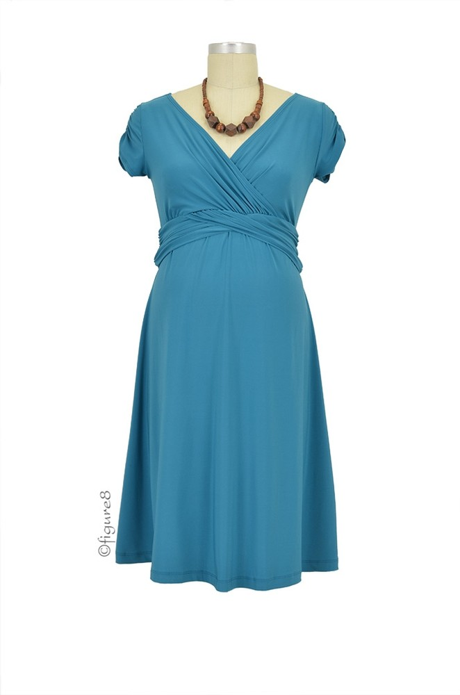 Hillary Luxe Jersey Nursing Dress (Teal)