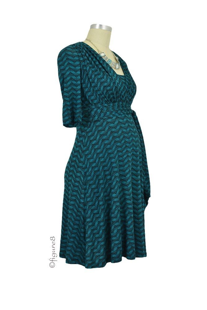 Natasha Front Tie Nursing Dress In Aqua Print By Maternal