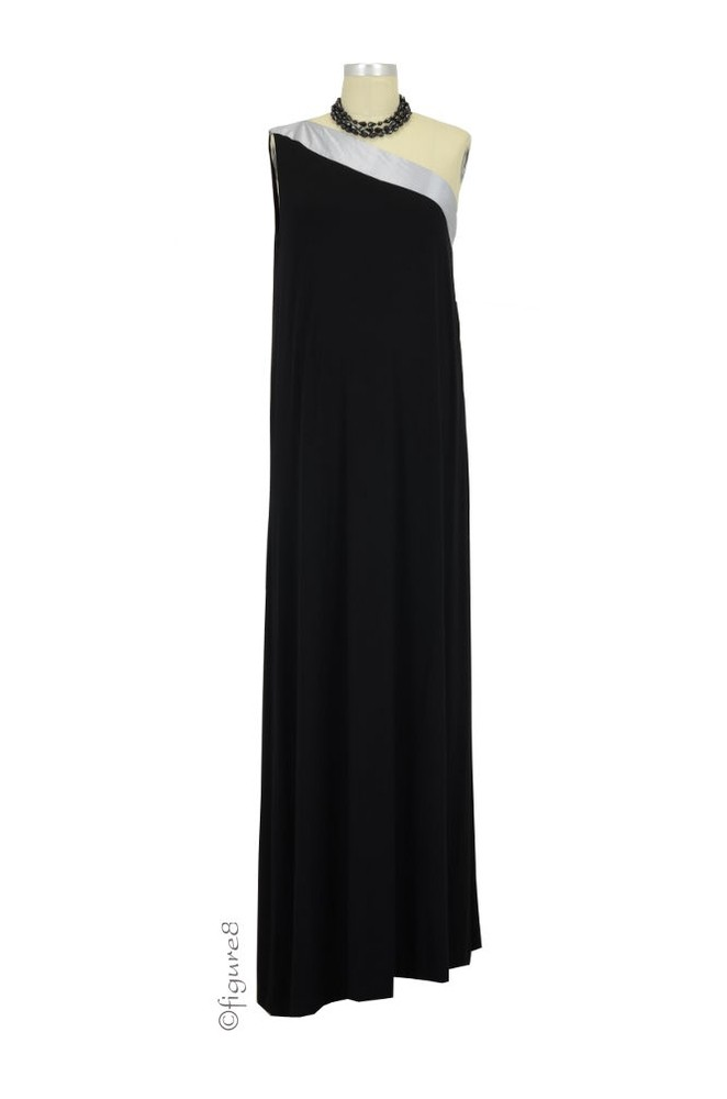 Amber One Shoulder Maternity Dress (Black with Silver)
