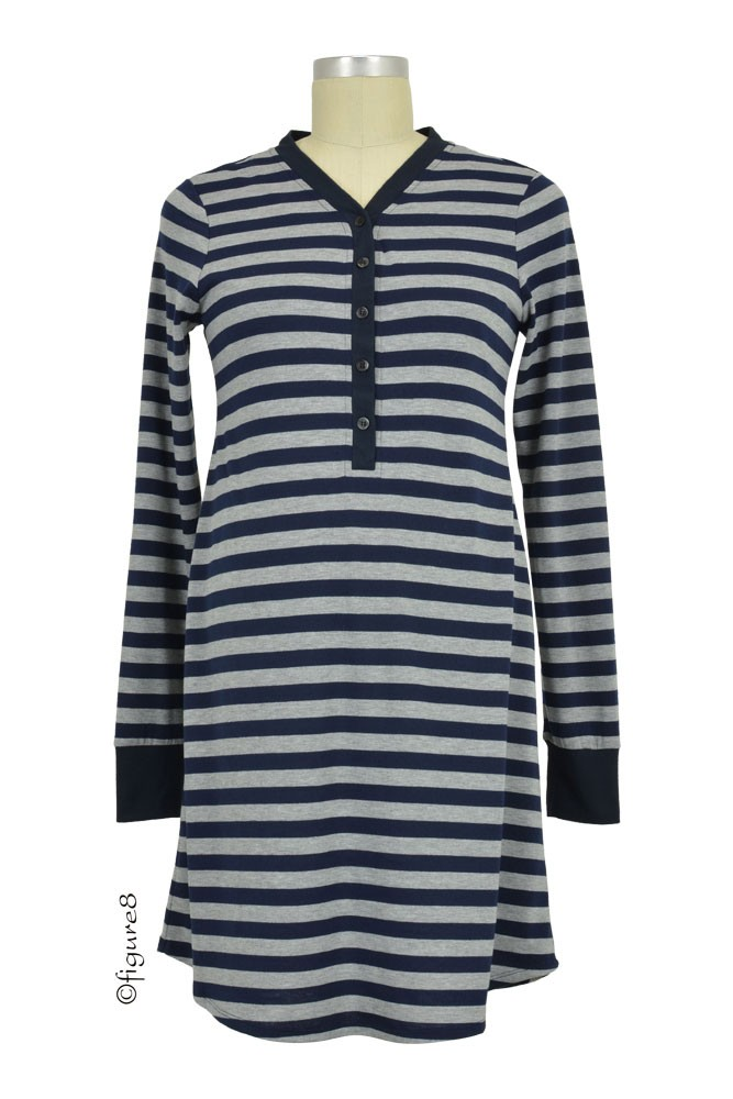 Stripes Long Sleeve Nursing Nightdress (Navy Stripes)