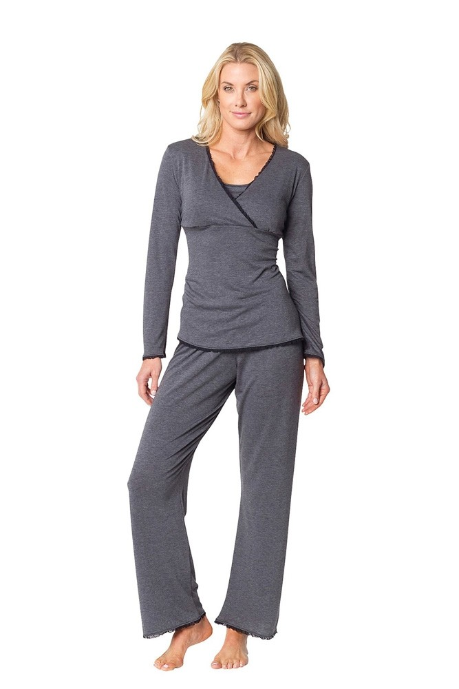The Margo Nursing PJ Set (Charcoal with Black Lace)