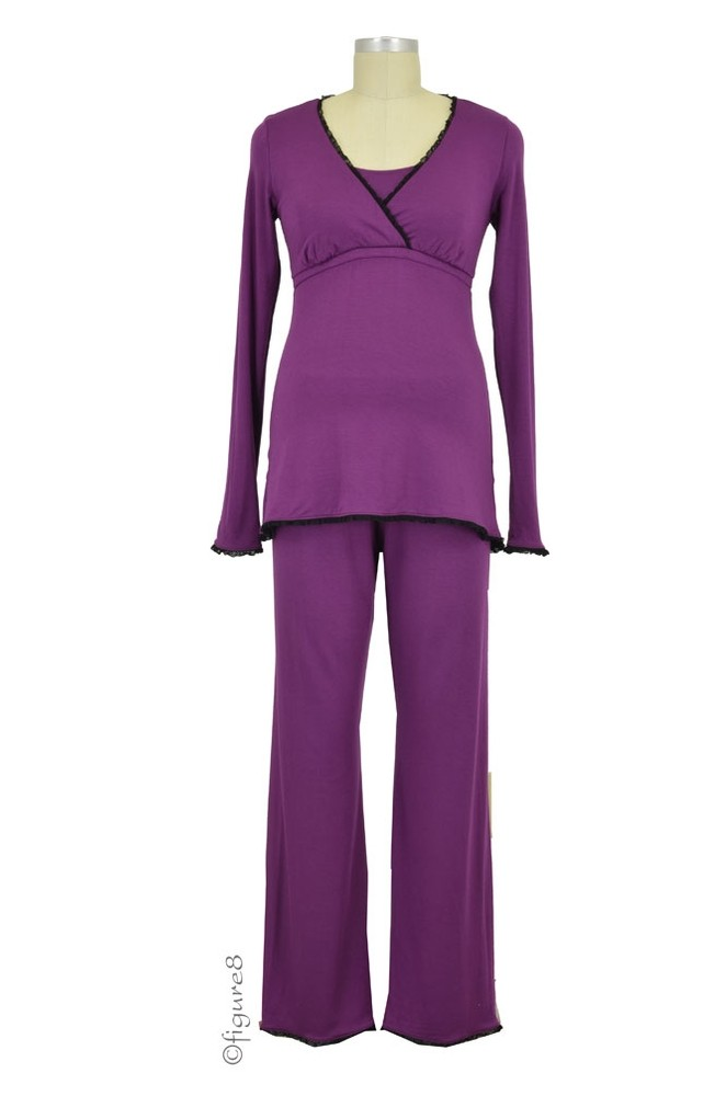 Majamas Margo Nursing PJ Set (Grape with Black Lace)