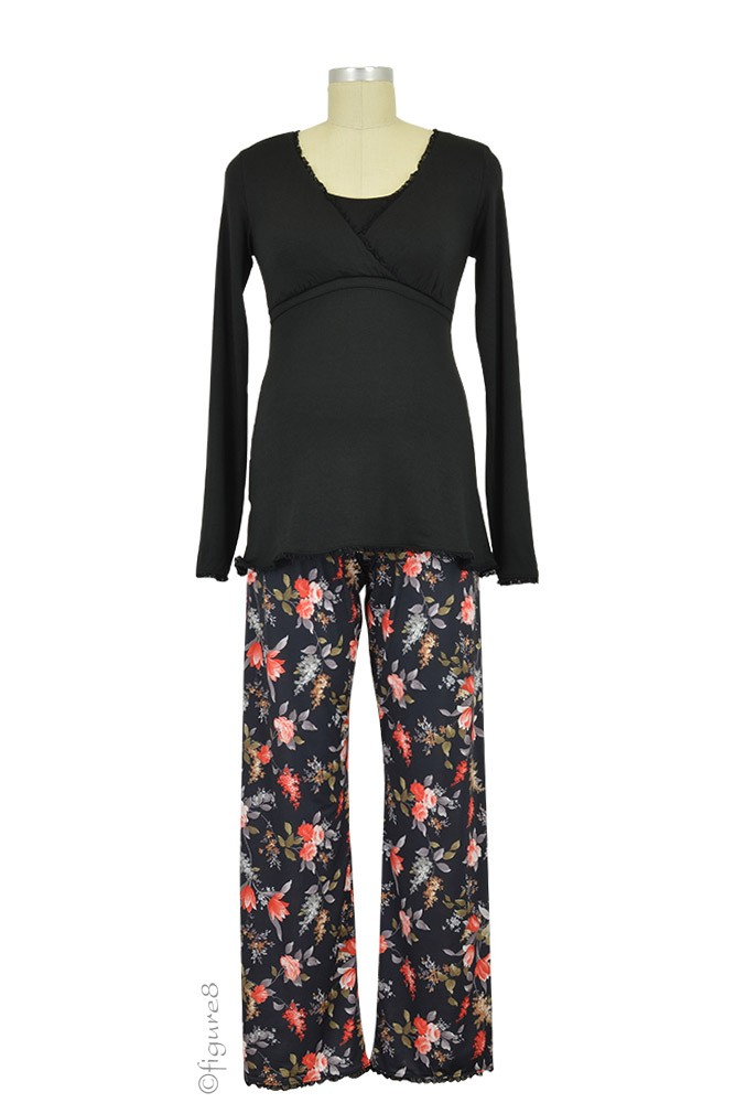 Majamas Margo Nursing PJ Set (Black Top/Fall Sprigs)
