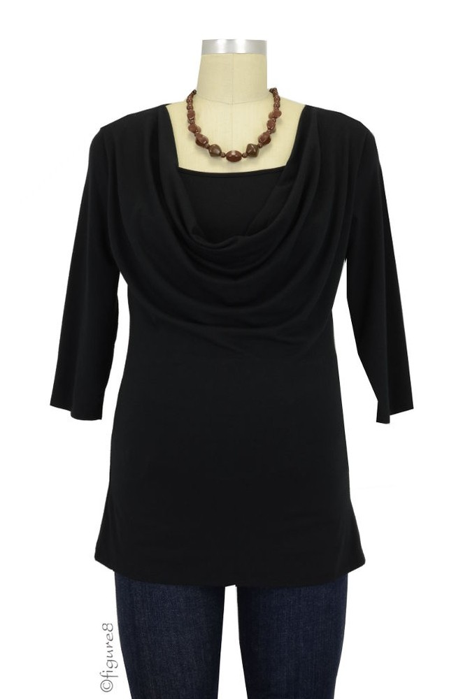 Momzelle 3/4 Sleeve Fancy Nursing Top (Black)
