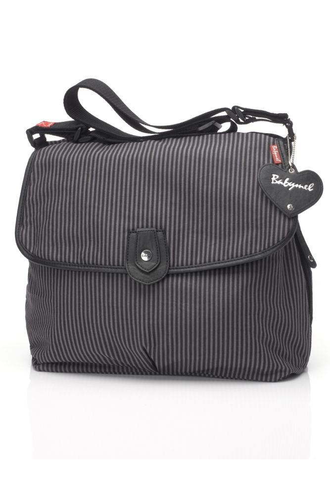Babymel Satchel Stripe Canvas Diaper Bag (Grey Stripe)