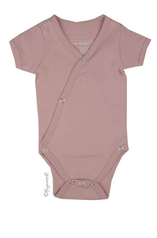 L ovedbaby Short Sleeve Kimono Baby Girl Bodysuit in Think