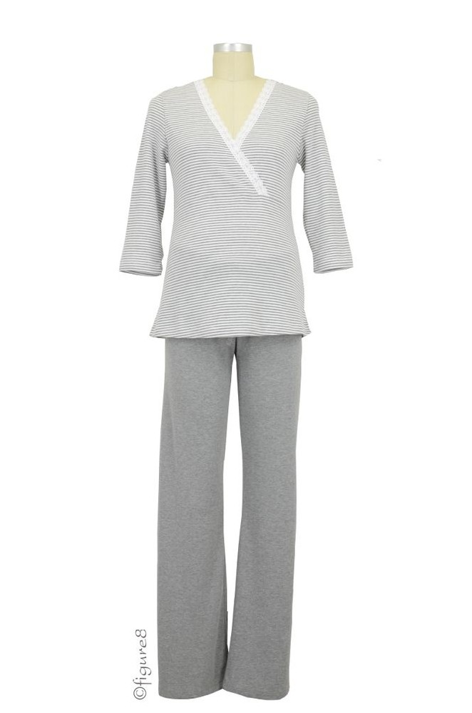 Henrieke Nursing Pajama (Grey & White Stripe)