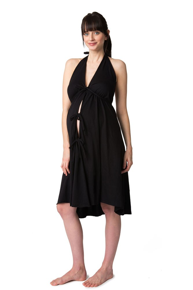 Pretty Pushers Cotton Jersey Labor Gown in Black