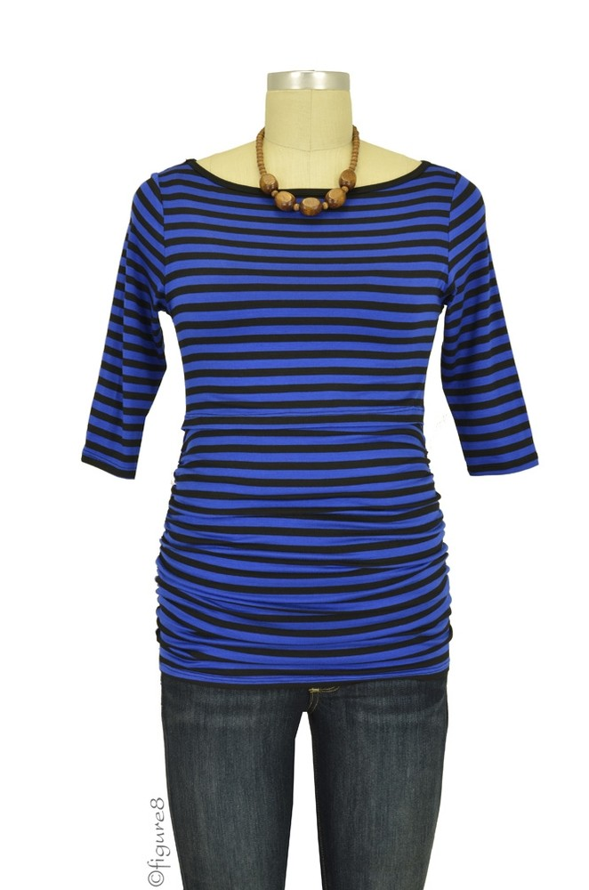 Audrey 3/4 Sleeve Boatneck Nursing Top (Royal/Black Stripes)