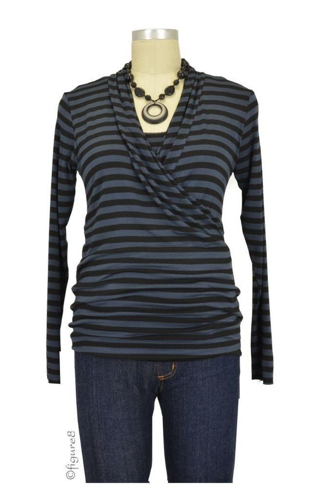 Baju Mama Isabella Raw Edge Maternity & Nursing Top - Long Sleeve (Charcoal/Black Stripe)