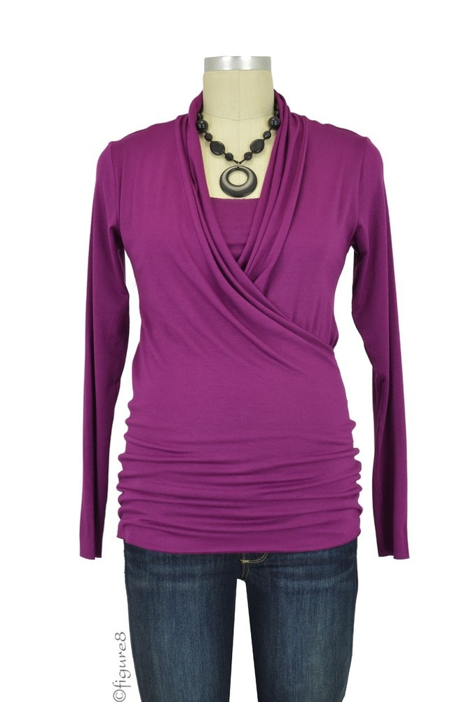 Baju Mama Isabella Raw Edge Maternity & Nursing Top - Long Sleeve (Plum Wine)