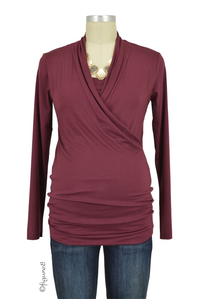 Baju Mama Isabella Raw Edge Maternity & Nursing Top - Long Sleeve (Merlot)