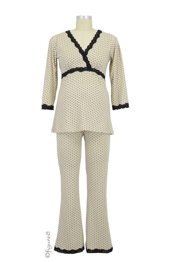 Belabumbum Dottie Kimono Nursing Tunic & Pant Set in Khaki Dot