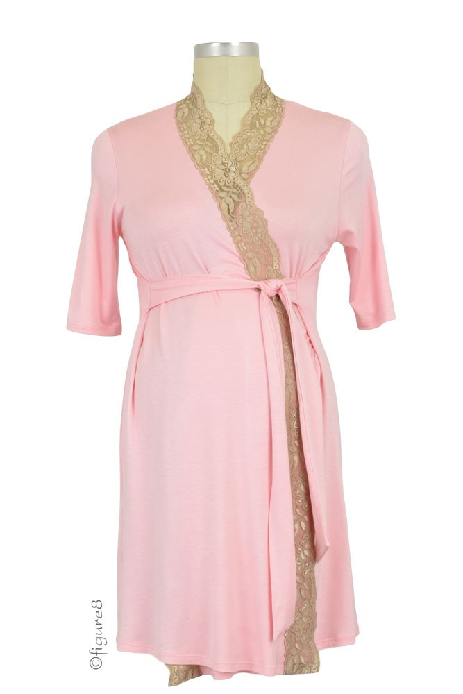 Baju Mama Emma Lace Trim Robe (Baby Pink/Cream Lace)