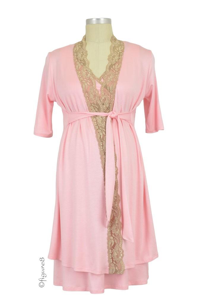 8a2fec0558c Baju Mama Emma Modal-Lace Nursing Chemise in Baby Pink/Cream Lace