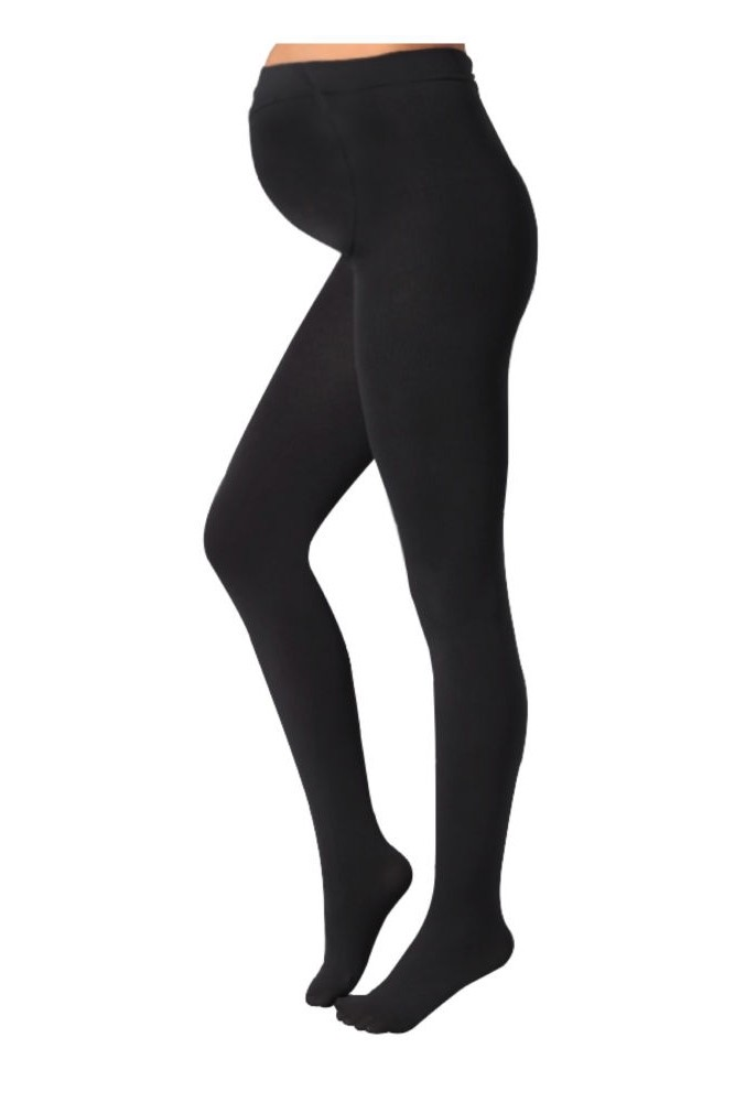 Plush Maternity Full Foot Fleece Lined Maternity Tights (Black)