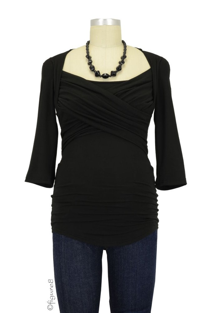 Toni 3/4 Sleeve Nursing Top (Black)