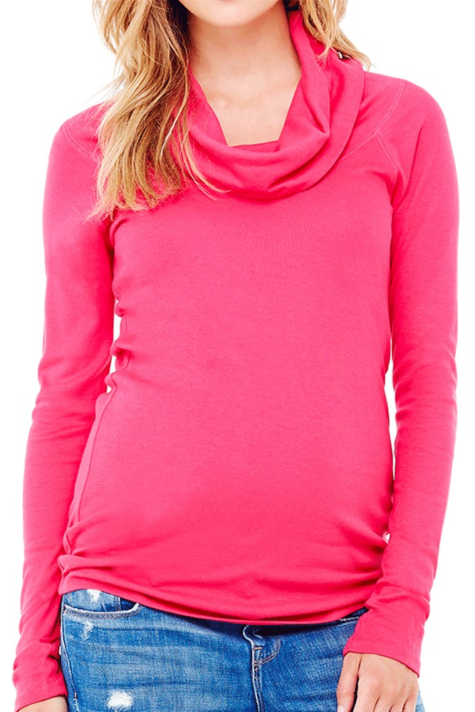 Ingrid & Isabel Long Sleeve Cowl Neck Maternity Tee (Berry)