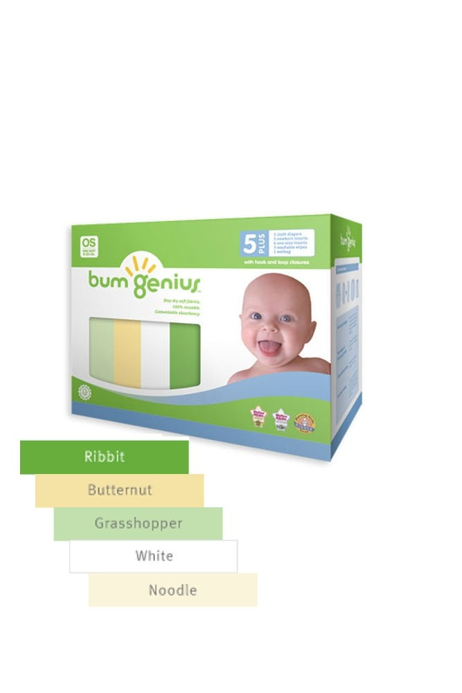 bumGenius 5+ Pack 4.0 One-Size Stay-Dry Cloth Diaper Hook & Loop (Neutral Colors)