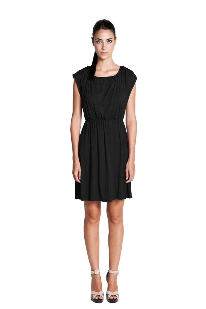 Giselle Elastic Waist Nursing Dress (Black)