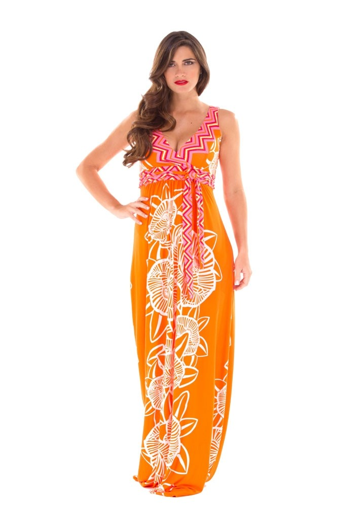 Emma Maxi Maternity Dress in Orange & Pink Floral by Olian