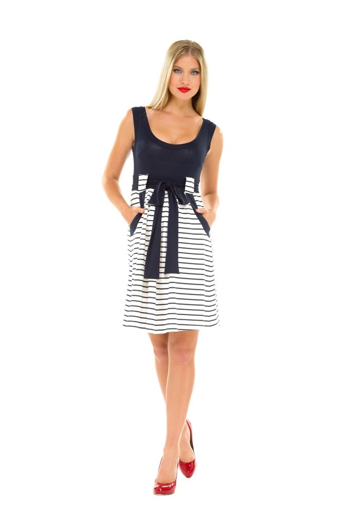 280c7e31561 Olian Lillian Maternity Dress in Navy   White Stripes