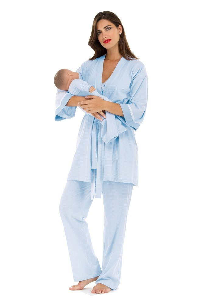 Rose 4 pc. Nursing PJ Set with Baby Outfit (Blue & White Mini Stripes)