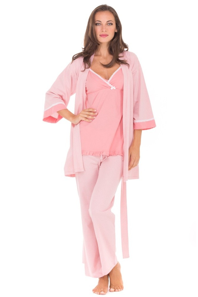 Olian Anne 4 pc. Nursing PJ Set with Baby Outfit (Pink Stripes)