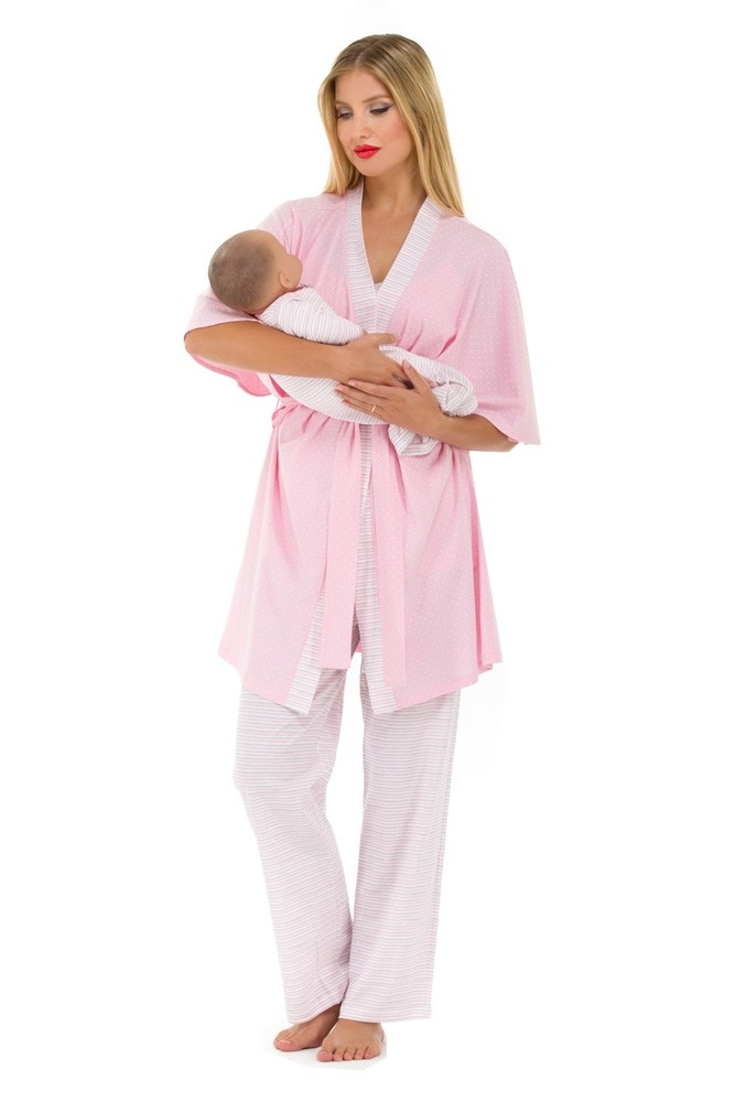 Anne 4 pc. Nursing PJ Set (Dot & Mini Stripes)