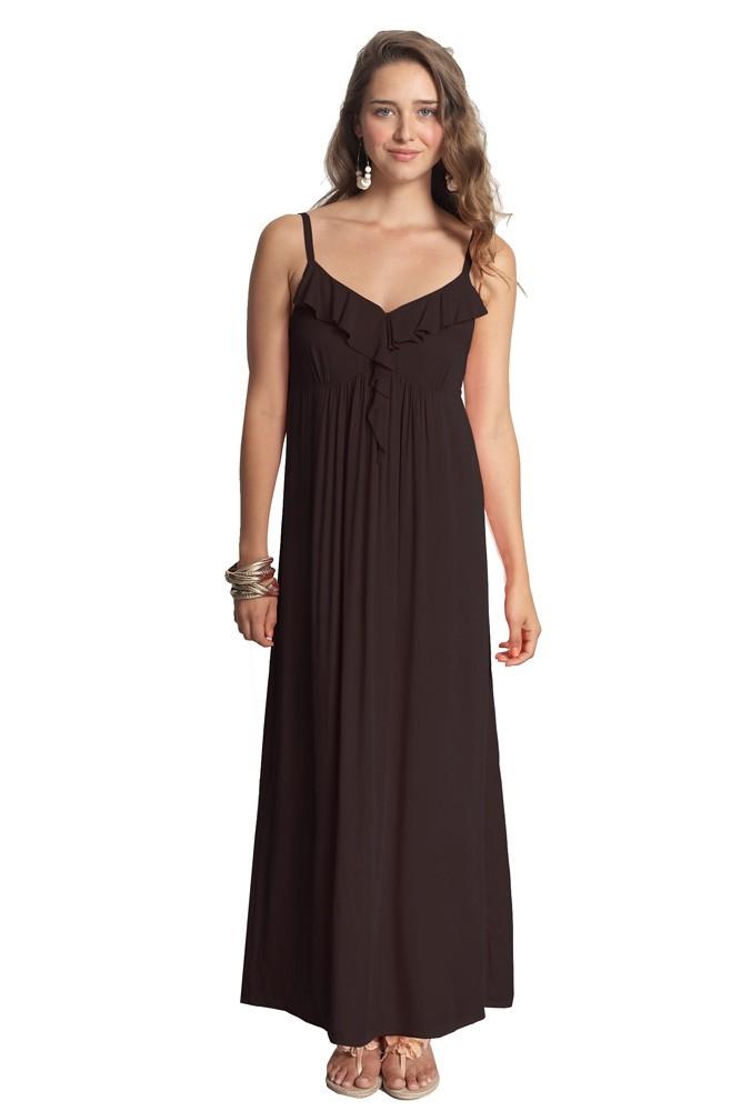 Ria Cotton Nursing Maxi Dress In Black By Mothers En Vogue