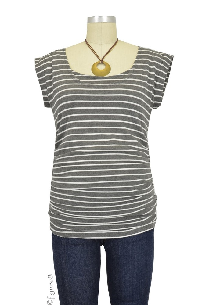 Striped Side Ruched Nursing Top w/Tie Back (Heather Grey and White Stripes)