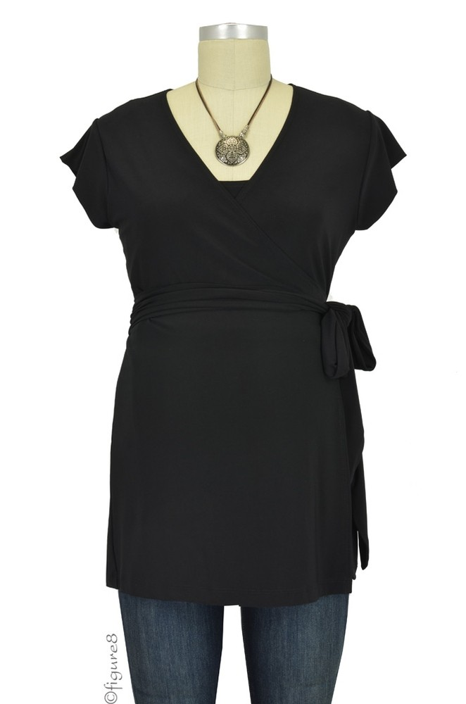 Stacy Luxe Wrap Nursing Top (Black)