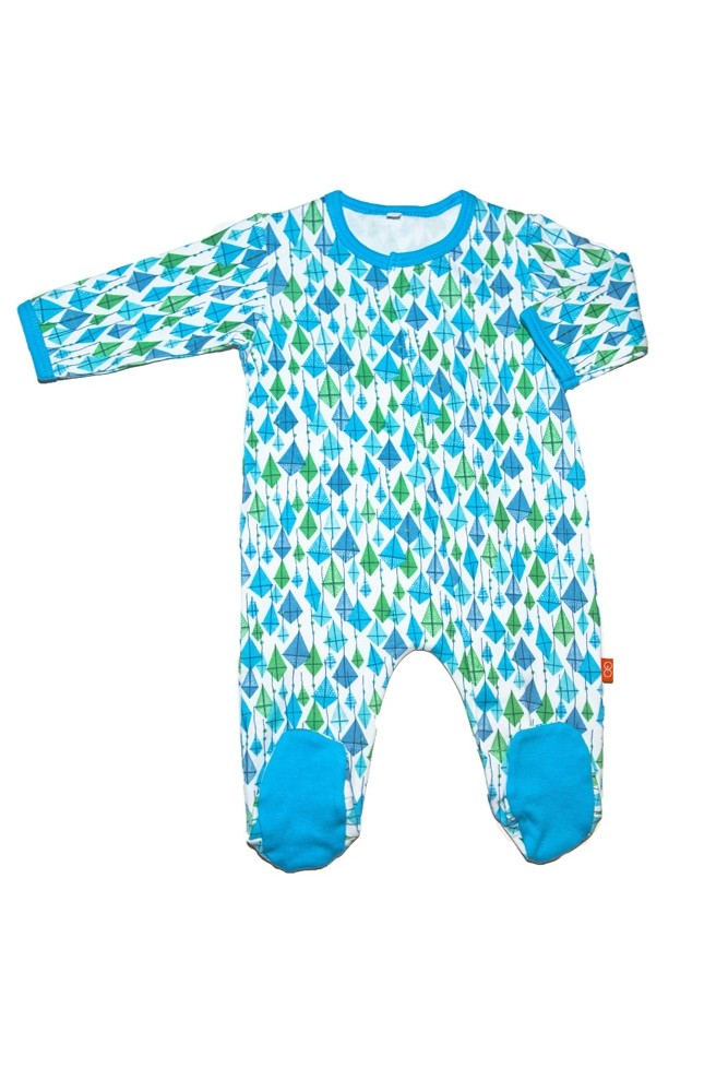 Magnificent Baby Boy's Footie (Blue Kites)